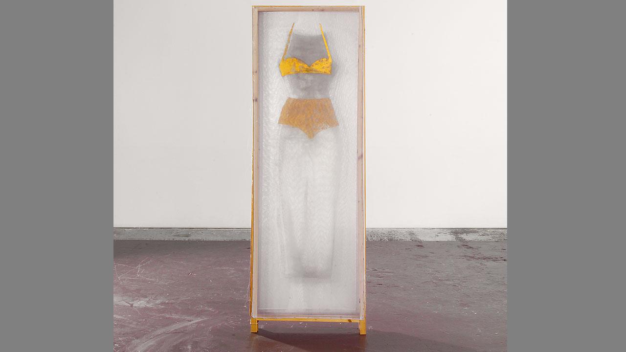 Paravent, 4-teilig, Schellack, Pigment und Schlagmetall auf Seidenorganza, 1998