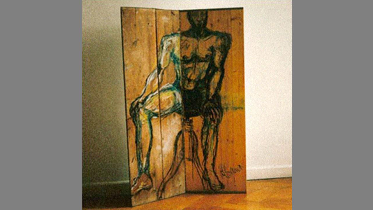 Paravent, zweiteilig, Oelkreide auf Schaltafeln, 1997